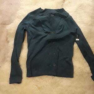 Three Dot teal green long sleeve shirt